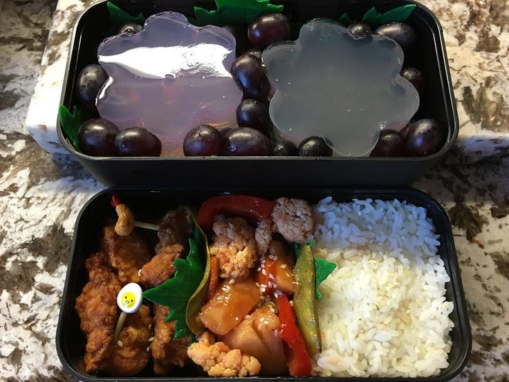 #88 Pei Canada I have created a sweet and sour pineapple stir fry with chicken karaage to accompany rice. for dessert there are some cherry blossom agar jellies and sweet red seedless grapes. Itadakimasu!
