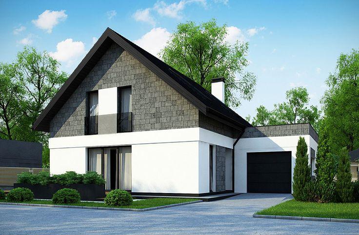 Dom parterowy z poddaszem użytkowym i garażem - czarny dach dwuspadowy, nowoczesna elewacja w kolorze biało-szarym. #projekty #domów