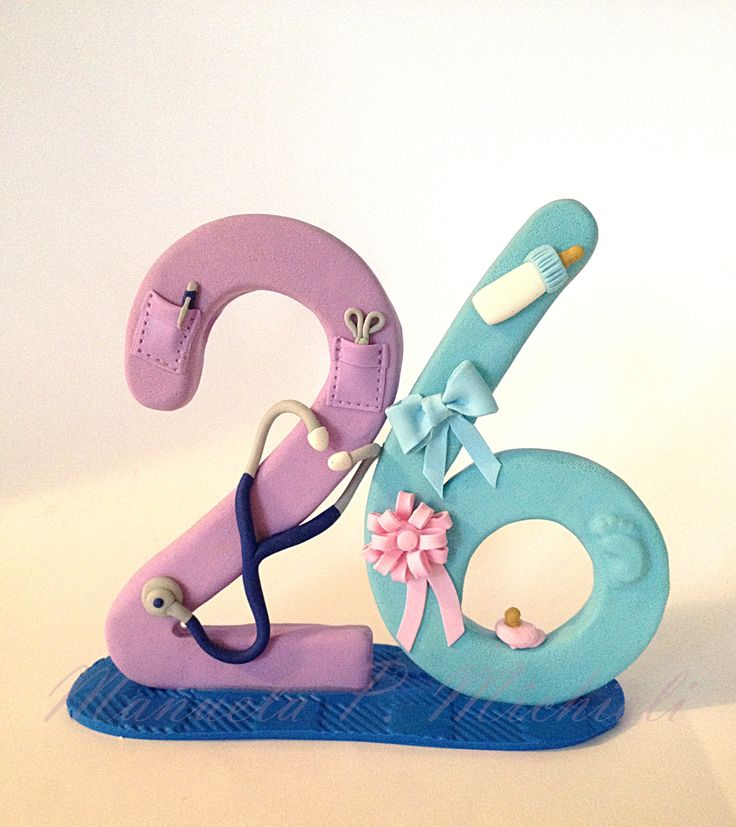 Polymer Clay cake topper celebrating a 26 years old midwife  - by Manuela P. Michieli