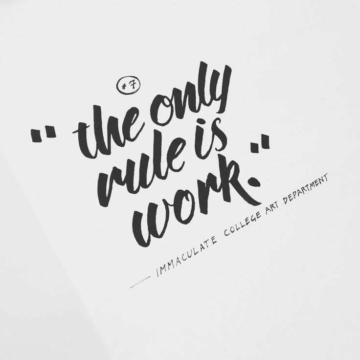 """""""the only rule is work"""" Immaculate college art dept by Spence Nelson"""