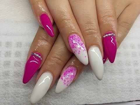 Long Pink and White Gel nails// Hosszú pink és fehér zselés körmök - YouTube