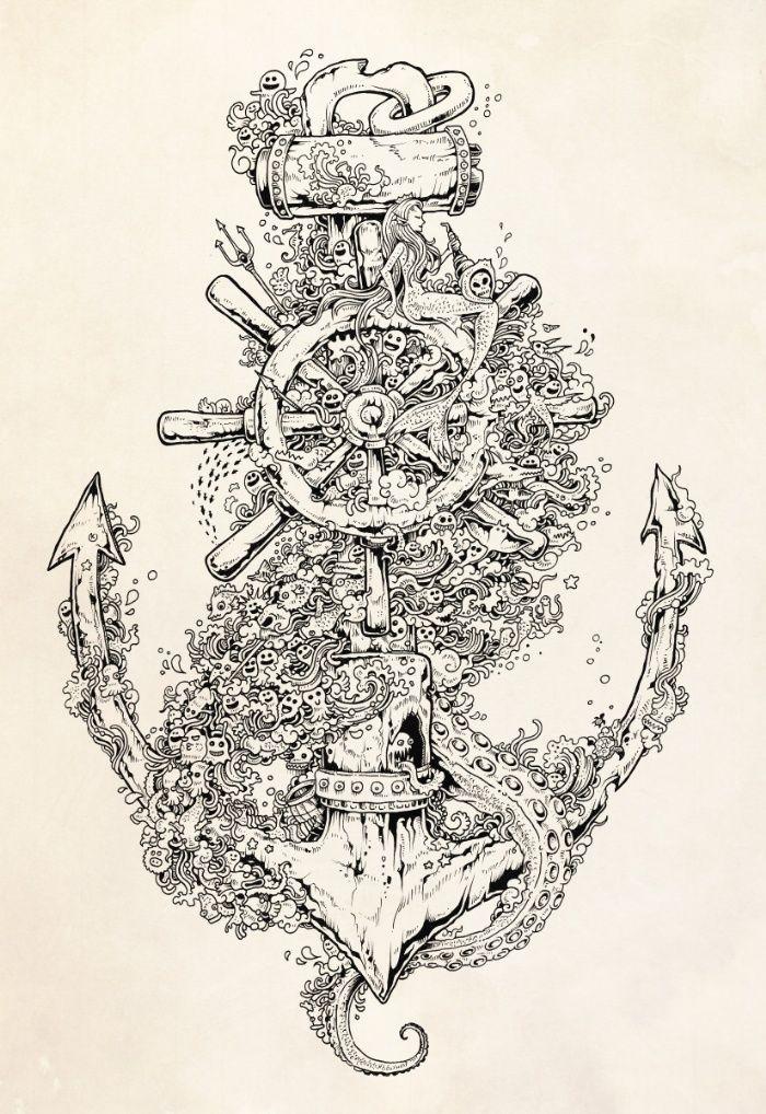 Printable Drawings For Coloring Into The Deep Art Print Doodle art drawing Deep art