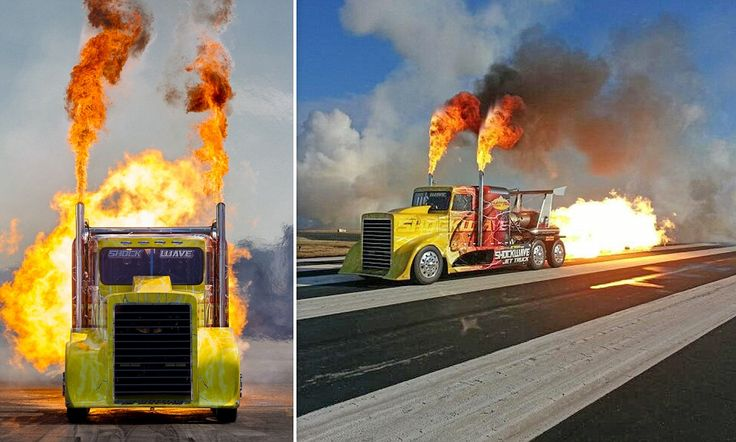 The 400mph Shockwave, the world's fastest jet-powered truck! Powered by 3 jet engines, the 4-tonne Semi generates an incredible 36,000 hp & can cover a quarter mile in 6.5 secs. It could outrun a Japanese bullet train & holds 190 gallons of fuel. Added afterburners double the hp & thrust, so Shockwave literally has 6 times the power of the plane these engines came in. On acceleration, driver experiences 6G. It's stopped using 2 military parachutes, which produce an impact of up to -9G.