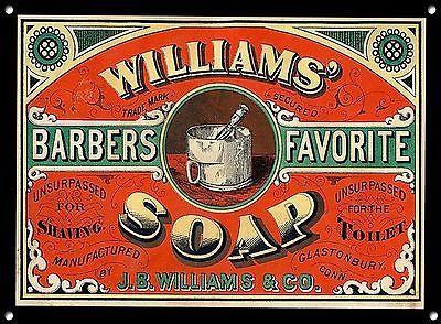 """Barbier"" Williams Seife, Metallschild, Haar, Retro, Emaille, Vintage, No.715"