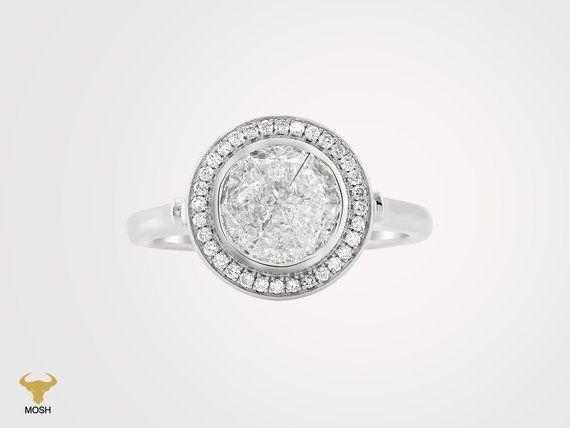 1f065ce0b1a Ultra Rare 18K White Gold Natural Diamond Dangle Sparkle Bridal Ring Bridal  Rings