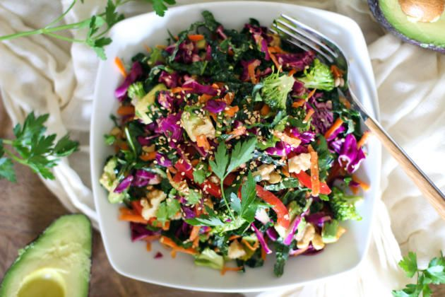 Detox kale salad provides all the nutrients you need in one bowl. Perfect to getting your body back on track.
