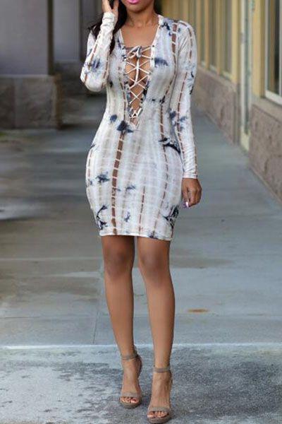 Lace Up Design Long Sleeve Print Dress
