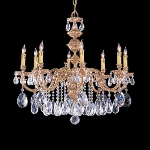 Old world cast brass chandelier swarovski classic details 8 lights crystal new in antiques architectural garden chandeliers fixtures sconces