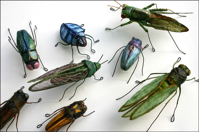Mixed Media, Andrea Uravitch, Artist, Insect Series, embroidered and sewn fabric, wire
