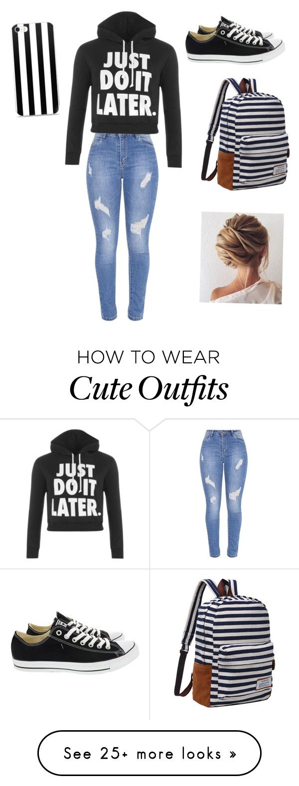 """Cute outfit for the day"" by aracelyviramontes on Polyvore featuring WearAll and Converse"