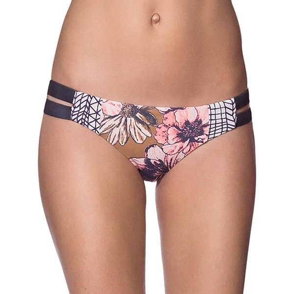 Maaji Moviepier Bikini Bottom ($65) ❤ liked on Polyvore featuring swimwear, bikinis, bikini bottoms, beach bikini, floral bikini bottoms, floral two piece, bottom bikini and floral-print bikinis