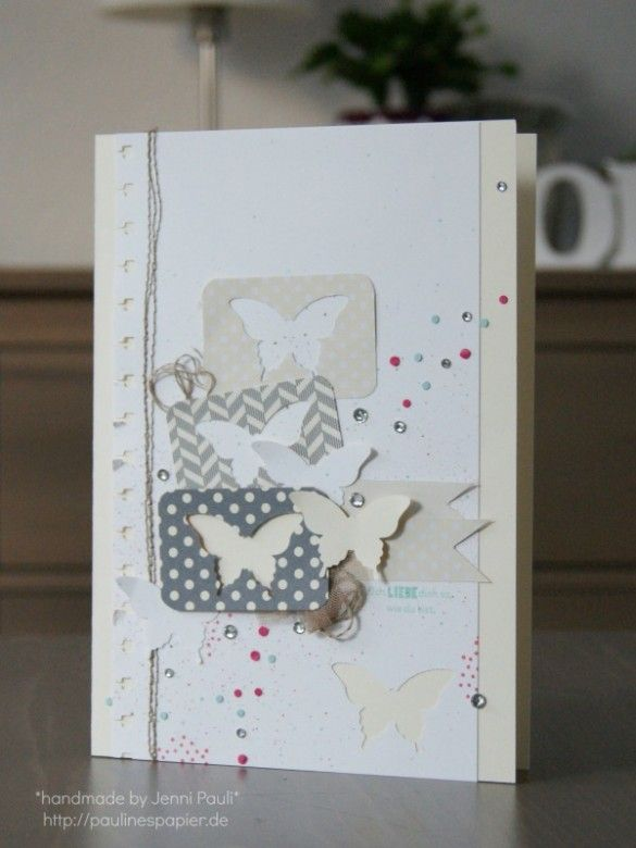 Create movement with punched butterflies, paper confetti, & rhinestones.