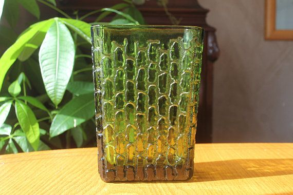 Vintage Art Glass Vase - Mid Century Modern Tree Bark Vase - Vintage Green Glass Rectangular Flower Vase - MCM Home Decor