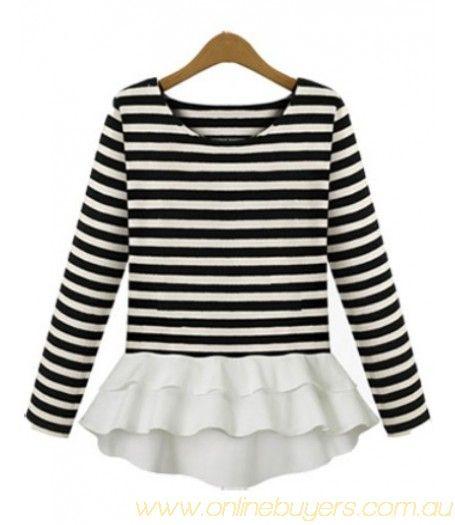 Black White Striped Long Sleeve Ruffle T-Shirt