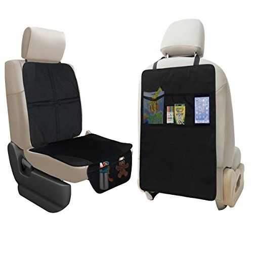 Lebogner Car Seat Protector + Kick Mat Auto Seat Back Protector With 3 Organizer Pockets, Durable Quality Seat Covers + Waterproof Kick Guards To Protect Your Leather And Upholstery Seats From Damage - Does it seem to you that it's not possible to keep the upholstery of your car nice when you have small children?Does your child's car seat constantly leave dirt and marks on the seat of your car that are impossible to remove?Need some storage space to put your child's toys handy?Tired of your…