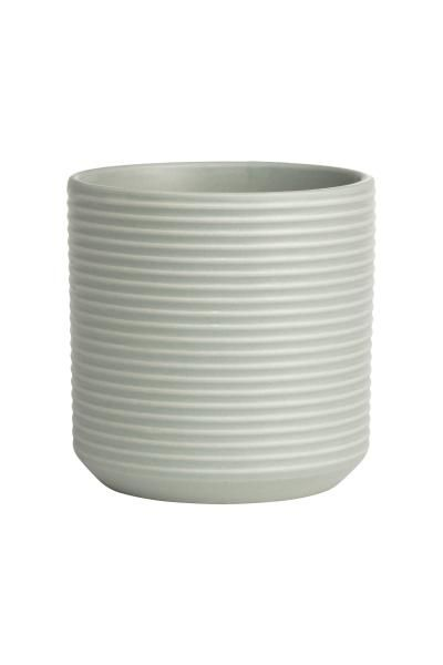 Petit pot en grès à motif texturé. Hauteur 10 cm, diamètre 10 cm.