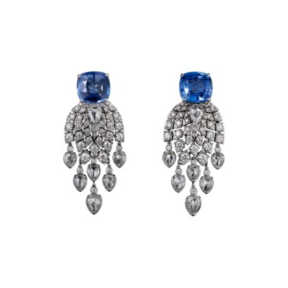 Cartier High Jewellery earrings Earrings - platinum, 5.06-carat and 6.70-carat cushion-shaped sapphires from Madagascar, pear-shaped rose-cut diamonds, brilliant-cut diamonds.