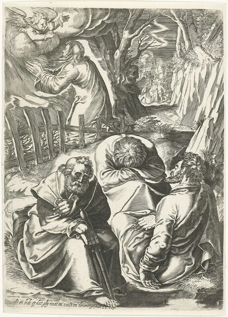 anoniem   Christus in de hof van Gethsemane, possibly Bartholomeus Willemsz. Dolendo, 1580 - 1625   Christus bidt op de olijfberg en een engel verschijnt voor hem en geeft hem een miskelk. Drie discipelen die even verderop zouden waken zijn in slaap gevallen. Op de achtergrond zijn al de soldaten, die Christus gevangen willen nemen, te zien. Onder de voorstelling een vers uit Mat 26.