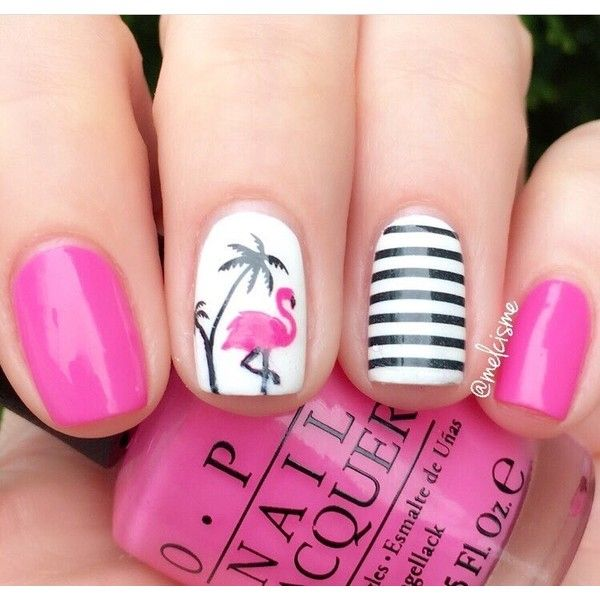 Flamingo Nail Decals/ Nail Stencils ❤ liked on Polyvore featuring beauty products, nail care and nail treatments