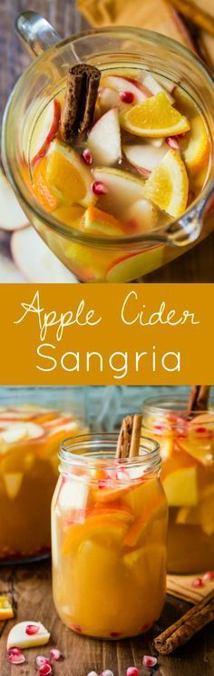Apple Cider Autumn Sangria-- add some Fall to your sangria with apple cider, cinnamon, pear, citrus, and more!