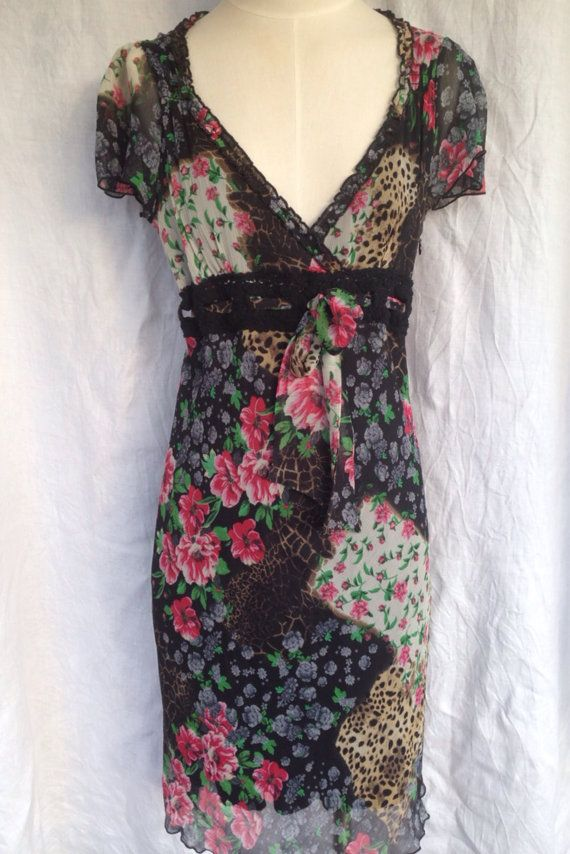 French vintage 90s floral dress/lace dress animal print /dress by Morgan De Toi size medium/small by Myfamilytreasure on Etsy