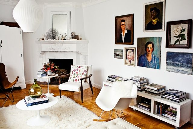 / via rue magEames Rocker, Fireplaces, Living Room, Rue Magazines, Gallery Wall, Artworks Livingroom, White Wall, Art Wall, White Room