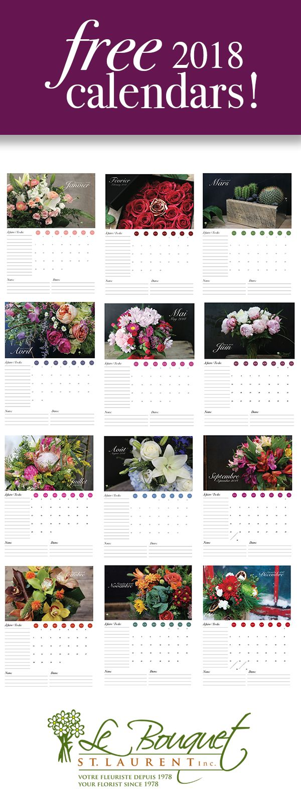 Free downloadable calendars in two styles!  Featuring flowers from Montreal florist Le Bouquet St Laurent.  Get your free downloads now!