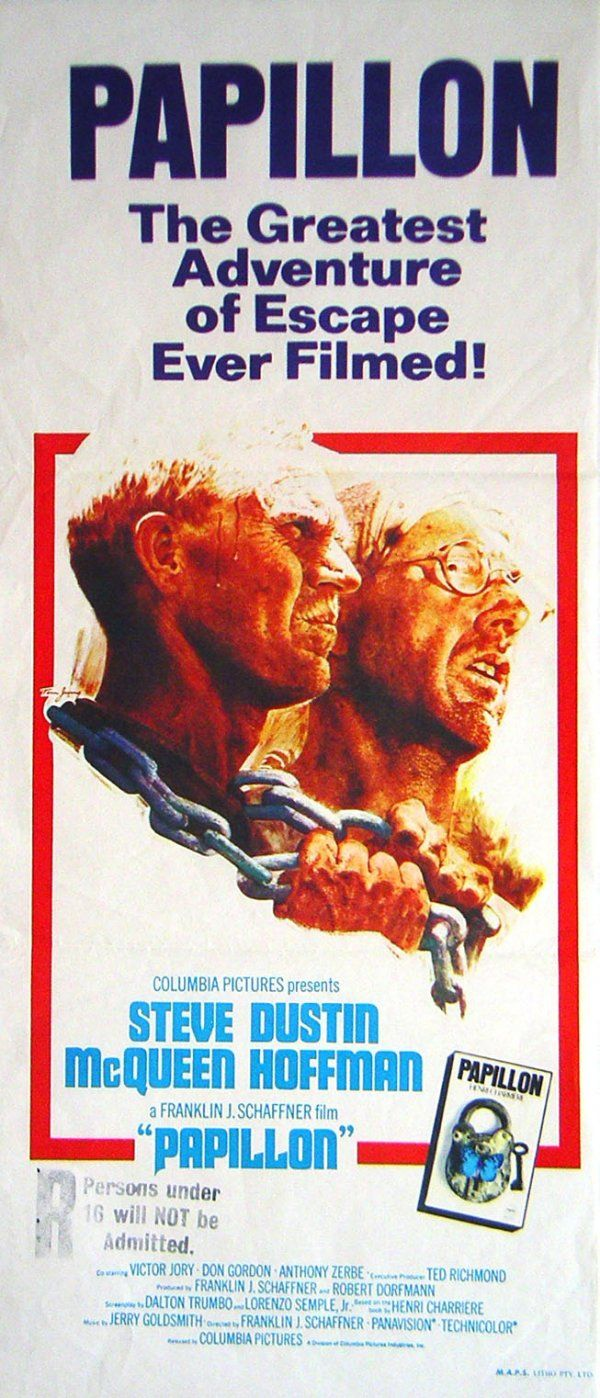 "Papillon is a 1973 prison film directed by Franklin J. Schaffner, based on the best-selling autobiography by the French convict Henri Charrière.  The film stars Steve McQueen as Henri Charrière (""Papillon""), and Dustin Hoffman as Louis Dega"
