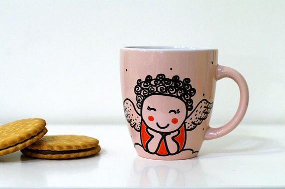 Pink angel girl mug Hand painted Unique mug Girl angel cup