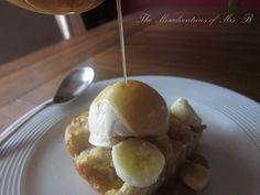 """The recipe for O'hana's (in Disney World) famous Pineapple Bread Pudding with Bananas Foster Sauce. I am obsessed with it and dying to try making it. But not gonna lie- the whole """"flambé"""" thing completely intimidates me!"""