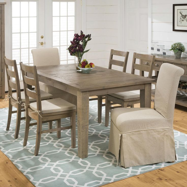 Slater Mill Pine Rectangular Table Ladderback Chair And Slipcover Skirted Parson Set