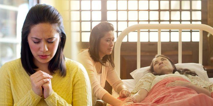 Eine Frau denkt beim Beten an ihre kranke Mutter