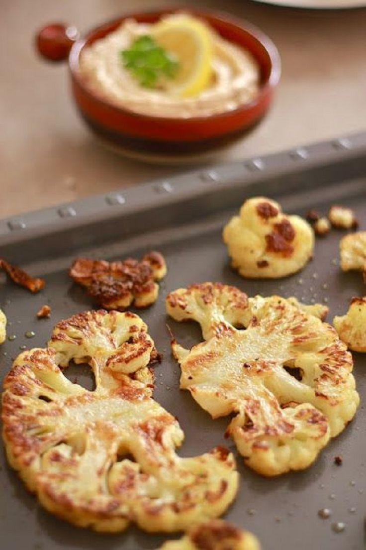 Roasted Cauliflower with Tahini Lemon sauce - 14 Clean Eating Snacks | GleamItUp
