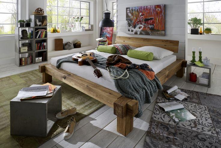 SAM® Balkenbett Yannis Massiv Holzbett Wildeiche 160 x 200 cm Auf Lager !