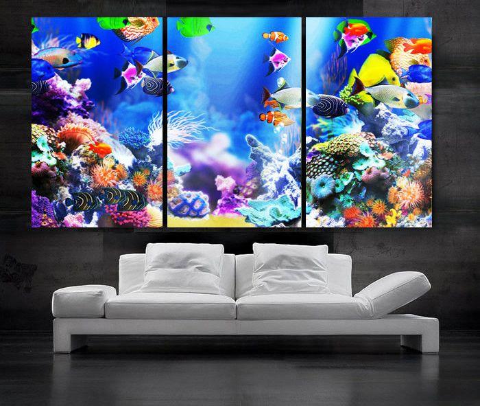 "LARGE 30""x 60"" 3 Panels Art Canvas Print beautiful Aquarium Fish Wall decorative home interior (Included framed 1.5"" depth)"