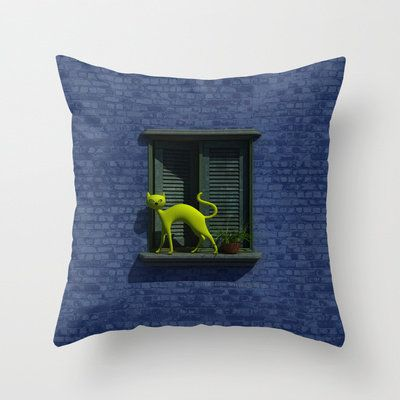 The Yellow Cat - Window - Th... from society6.com on Wanelo #homedecorating