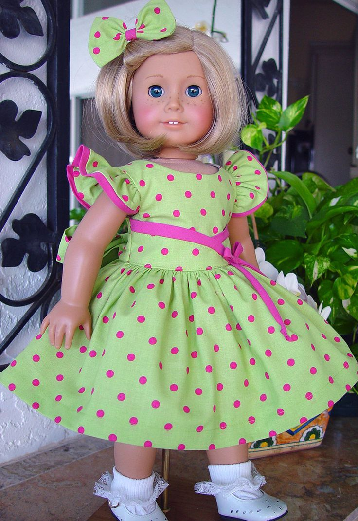 "American Girl dress, Doll Clothes, American girl clothes, Dress, 18"" doll dress…"