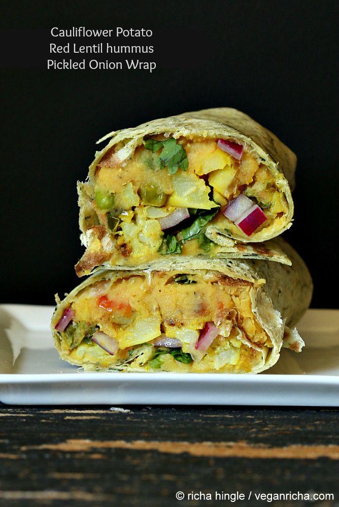 Gobi Aloo Wrap - Cauliflower Potato, Toasted Red Lentil hummus, Pickled Onion Wrap. Vegan Recipe - Vegan Richa #vegan #wrap #glutenfree