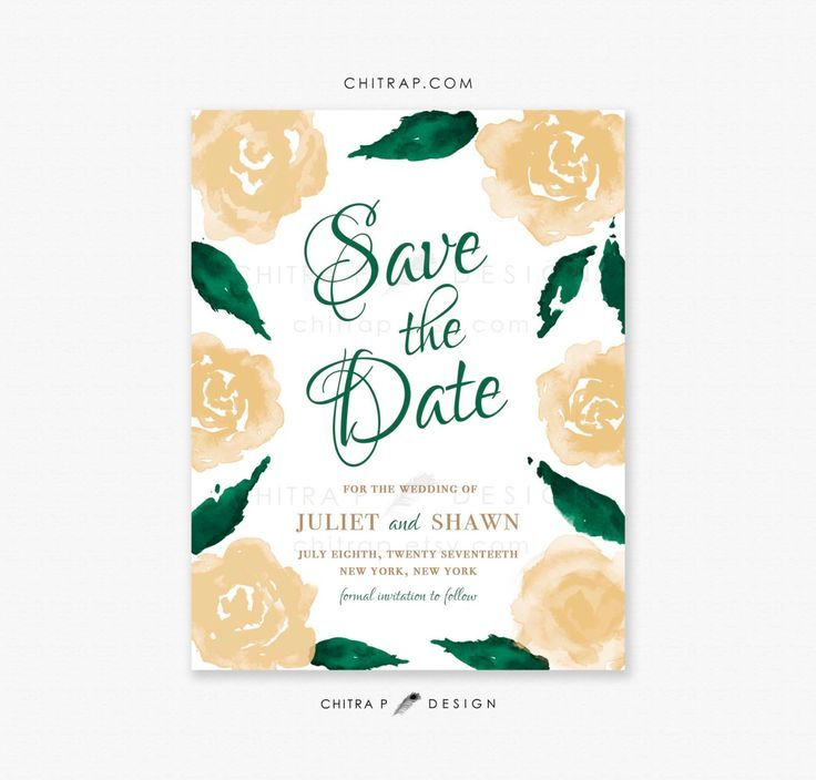 Green & Gold Save the Date Cards - Printed, White Watercolor Irish Whimsical Forest Emerald Jade St Patricks Day Floral Spring Rustic - SHOP : chitrap.etsy.com