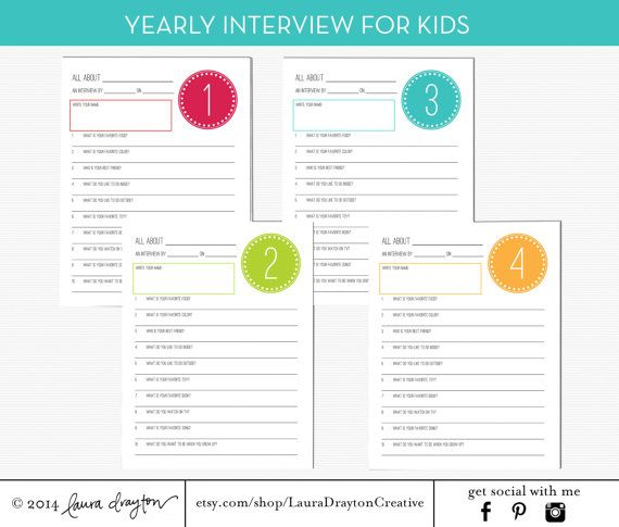 Yearly Interview for Kids - Birthday Interview Printable - INSTANT DOWNLOAD on Etsy, $6.00