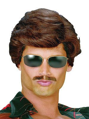 80's dark #brown used car sales man wig austin #powers ron #burgundy fancy dress,  View more on the LINK: http://www.zeppy.io/product/gb/2/351466128769/