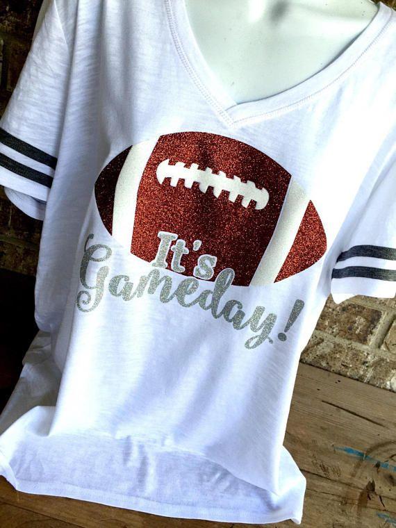 V- Neck It's Gameday Glitter Football T-Shirt, Football Shirt, Football Mom, Football Mom Tee, Football bling Shirt, Gameday Shirt
