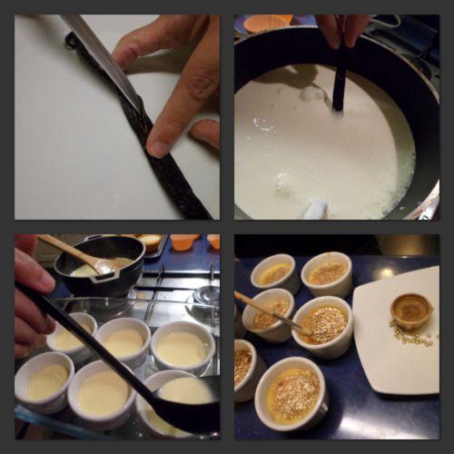 Creme brulée con corteza de pan de oro comestible