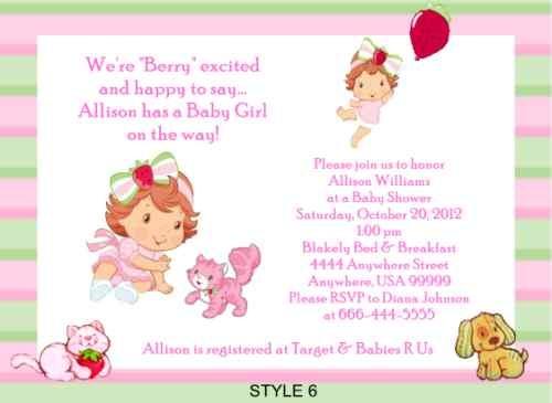 strawberry shortcake baby shower invitations strawberry shortcake