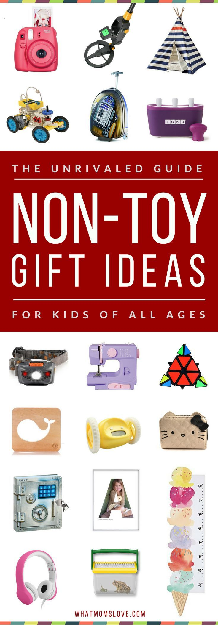 Overloaded with toys?! Learn over 200 incredible gift ideas for kids that AREN'T toys in this awesome Non-Toy Gift Guide. Perfect for toddlers to tweens and teens, girls or boys, for Holidays, birthdays and special occasions. Click for fun present ideas PLUS product recommendations, or pin for later | from What Moms Love