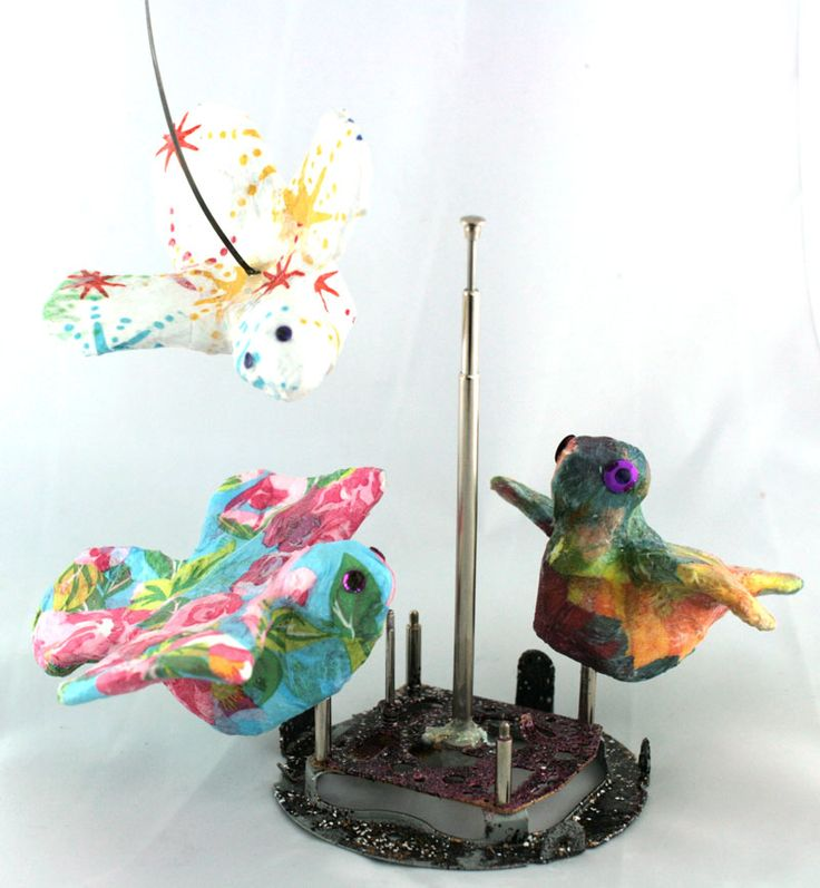 Gauche Alchemy - mixed media birds by Linda Brun