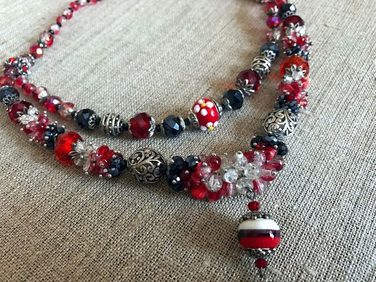Red glass beaded necklace Czech glass bead necklace red statement necklace Long red nrcklace Red crystal necklace Red jewelry Gift for her by TreasureMyIsland on Etsy