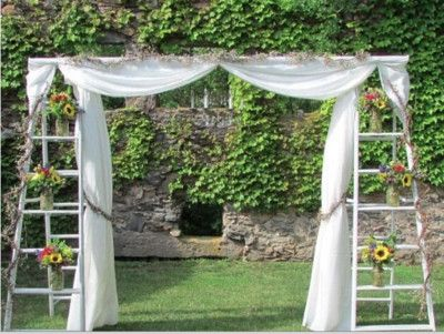 Great idea for an outdoor wedding arch!!