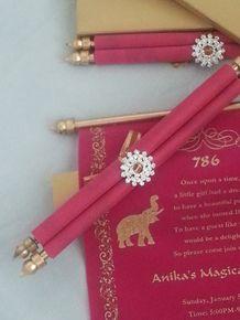 Decorative Scroll invitation with rhinestone decoration (Set of 25) - SCW-004 - Arabian party invitation