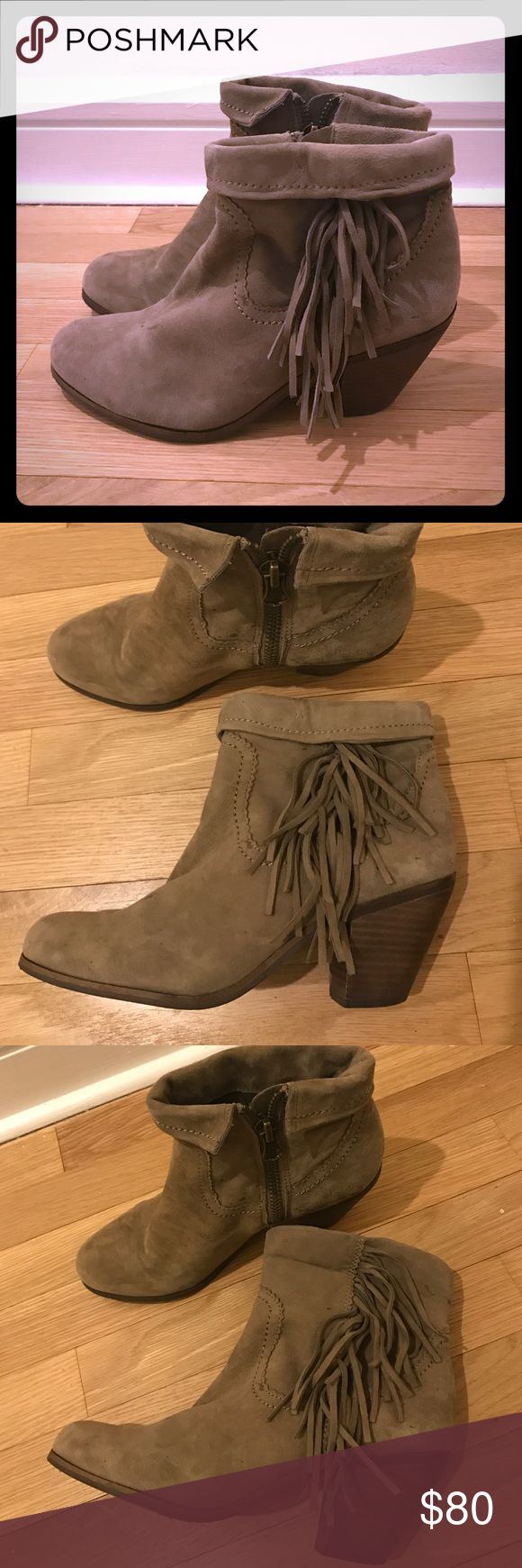 Sam Edelman fringe bootie very comfy heel Sam Edelman fringe bootie very comfy heel in taupe color, goes with everything. Worn twice! Sam Edelman Shoes Ankle Boots & Booties